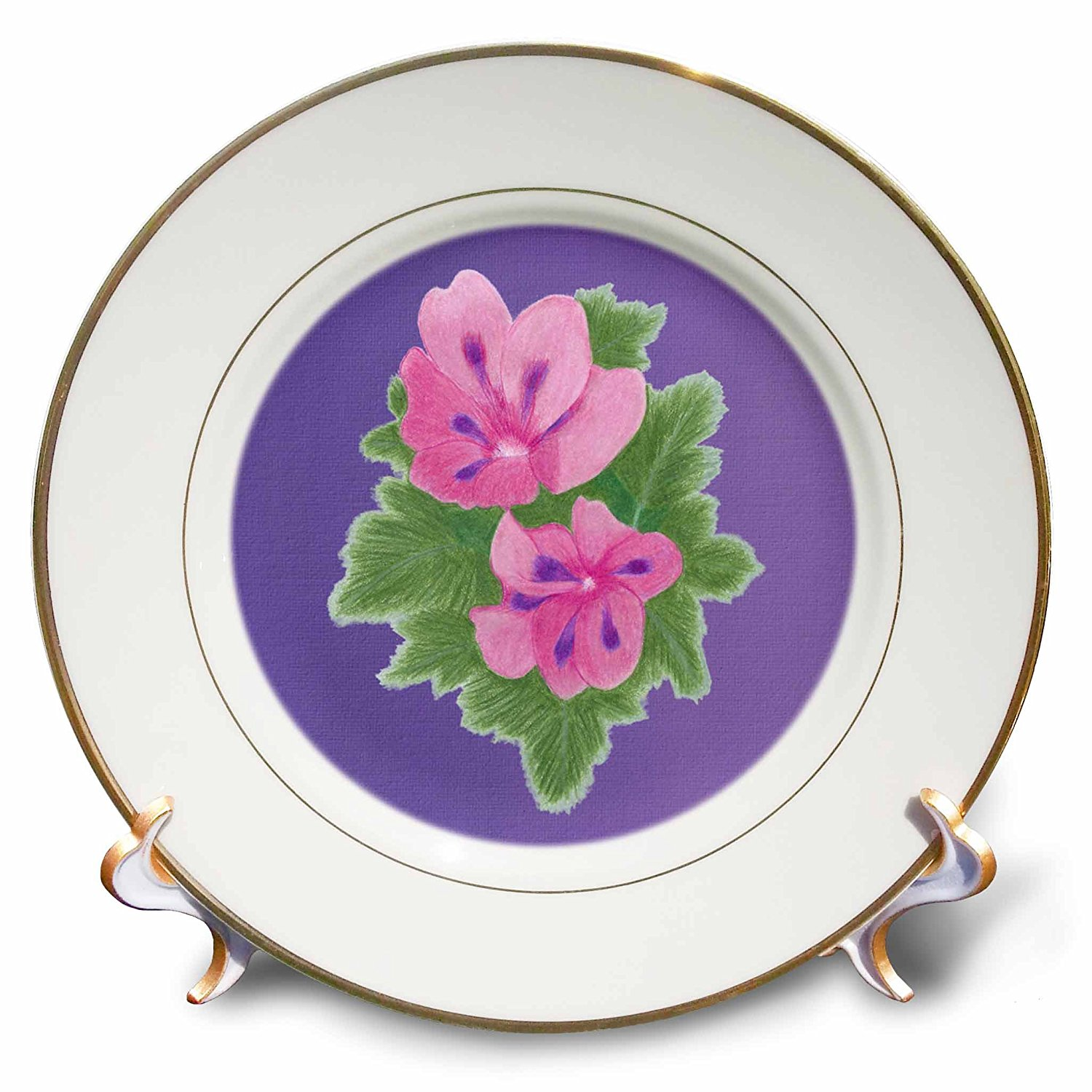 CherylsArt Flowers Art - Pink and Purple Geranium Flowers on Blended Lavender - 8 inch Porcelain Plate (cp_243752_1)