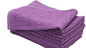"American Terry Mills 6 Dozen 100% Cotton Salon Towels Gym Towels Hand Towel 72-Pack Purple- (16"" X 27"" 2.75 Lbs /Doz.) 100% Ringspun-Cotton, Maximum Softness, Absorbency & Durability"