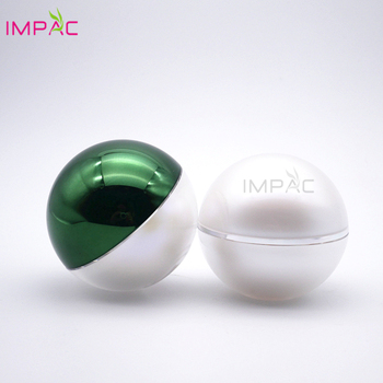 Fancy double wall pearl color ball shape acrylic green gel uv jar 50ml for cosmetic moisturizing face cream