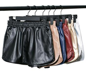 High Quality PU Leather Shorts Women Black Short Pants with Pockets Loose Casual Elastic Waist
