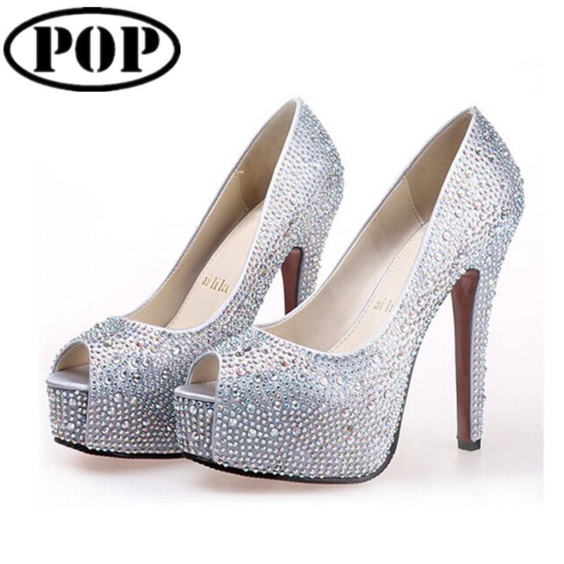 db1c8176dde Get Quotations · Plus size 34-41 Red Bottom High Heels Wedding Shoes  Platform Rhinestone Peep Toe Sexy