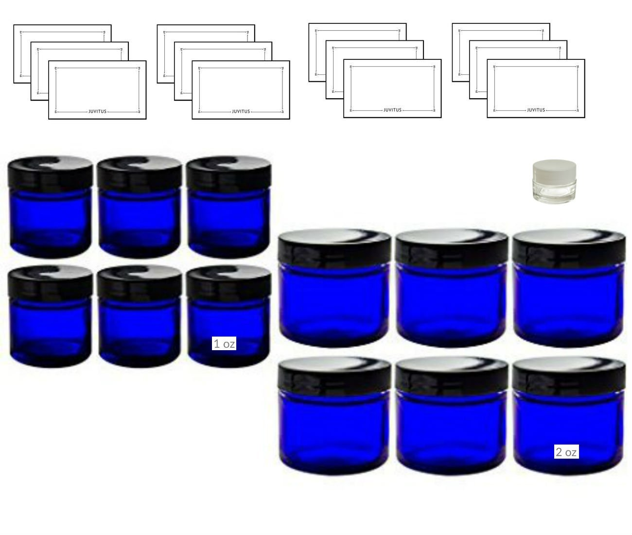 12 piece Cobalt Blue Glass Straight Sided Jar Starter Kit Set: 6 -1 oz Cobalt Glass Jars, 6 -2 oz Cobalt Glass Jars With Black Lids + a Small Glass Balm Jar and Labels
