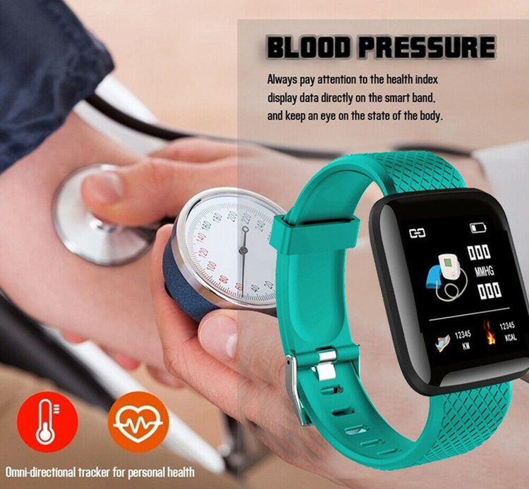 Waterproof health fitness band smartwatch blood pressure heart rate monitor for iPhone & Android phone
