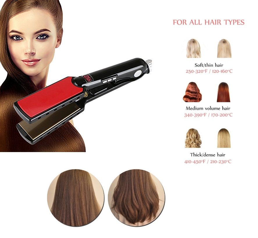 Beauty salon equipment professional LCD digital nano ceramic coating ionic ultrasonic infrared hair Flat Iron