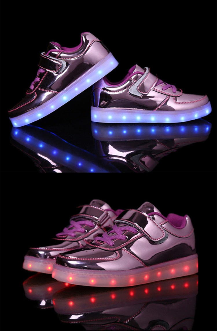 2016 New Style Colorful Running Sport Casual Chargeable Color light up kids led shoes