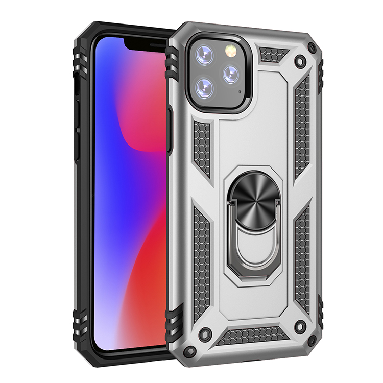 For iPhone 5.8 2019 plastic and TPU shockproof case built in metal rotate stand