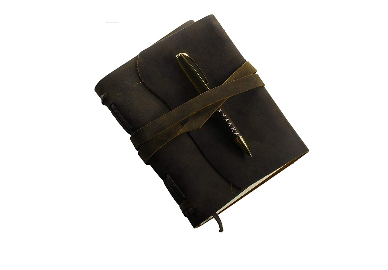 """Handmade Leather Journal, Writing Notebook, Leather Journal - 7.5"""" x 5.5"""", Unlined Diary, Travel Notebook, Sketchbook,with Calendar."""