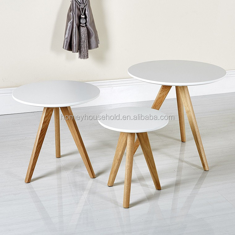 Nordic Retro Furniture Set of 3 Nesting Coffee Tea Tables With Oak Legs