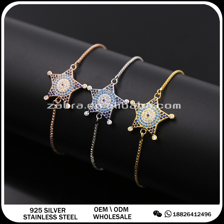 turkey evil eye 18k gold multicolor rhinestones star bangle bracelets