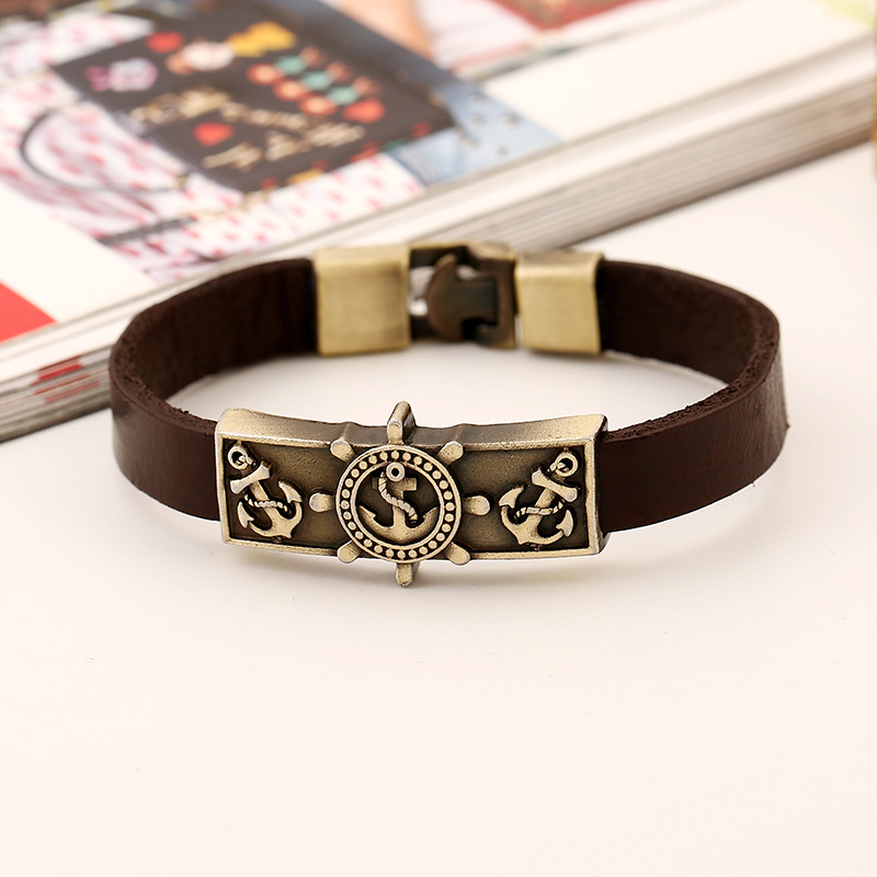 Pirates of the caribbean Anchor Rudder Compass Nautical expeditions leather bracelet For men's Wholesale Jewelry