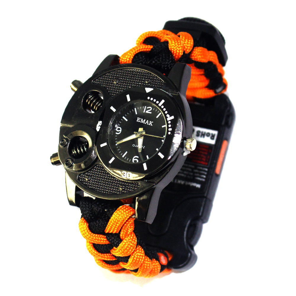 Survival Paracord Hiking Multi tactical survival watch for camping equipments, Orange black