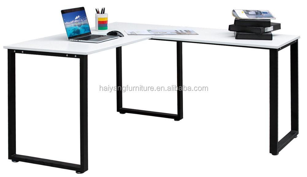 L forme bois coin ordinateur de bureau pour deux ordinateurs en