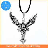 jesus 3D Stainless Steel Cross With Angel Wing Pendant Leather Chain Necklace