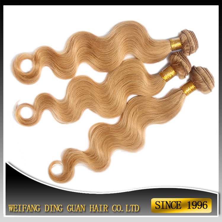 Newest Golden Brown Hair Extension Cheap Golden Blonde Hair Weave with Weft