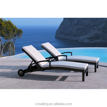 Hot All Weather Poolside Lounge Chair Chaise Outdoor Beach Sun Lounger With Wheel