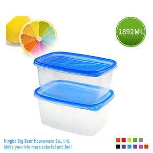64oz Rectangle Reusable Plastic Food Containers with Lids