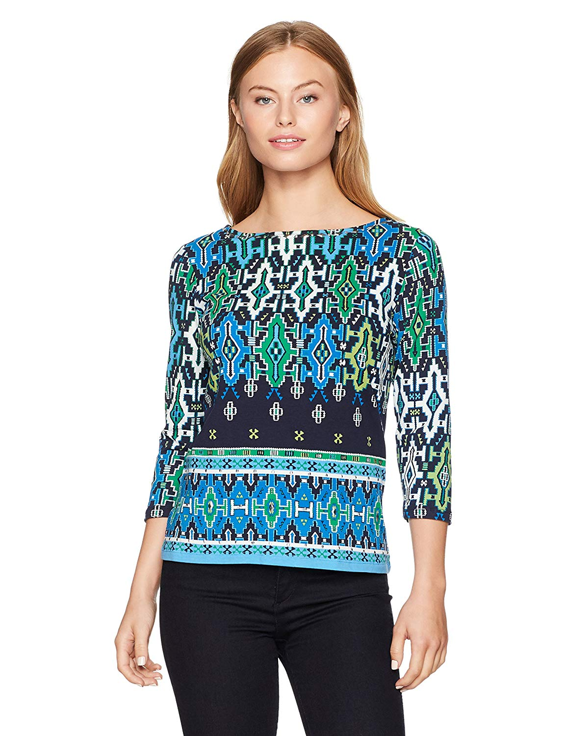134a65262de Get Quotations · Ruby Rd. Women's Petite Embellished Boat Neck Handloom  Border Printed Knit Top