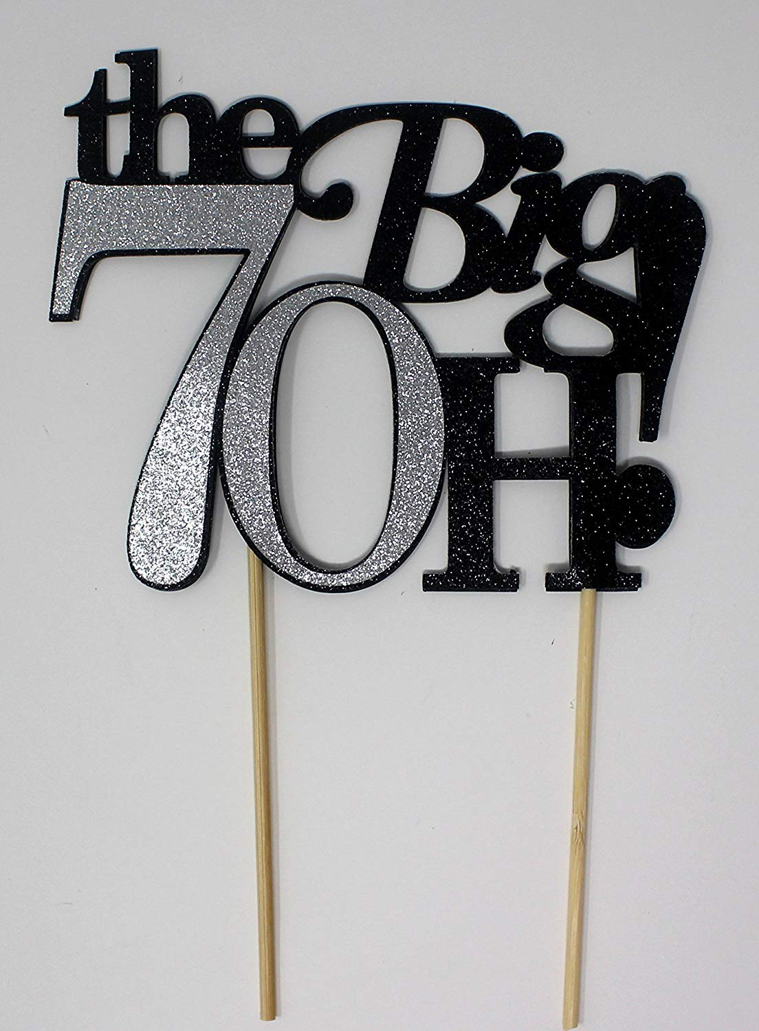 All About Details The Big 7OH! Cake Topper, 1pc, 70th Birthday Cake Topper, 70th Anniversary Cake Topper, 70th Birthday Decoration (Black & Silver)