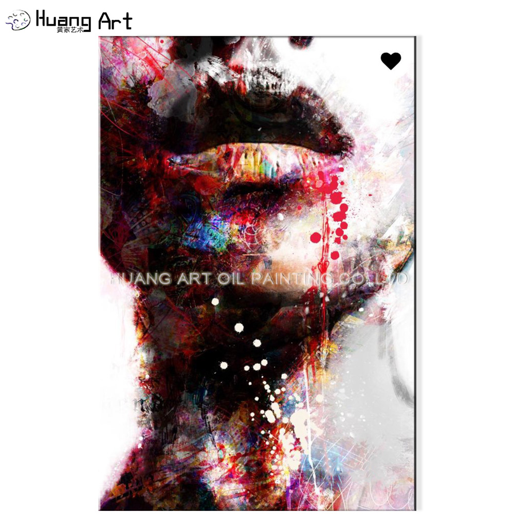 Hand Painted Sexy Women Lip Oil Painting on Canvas by Skill Painter Abstract Figure Oil Painting <strong>Picture</strong> for Living Room Art