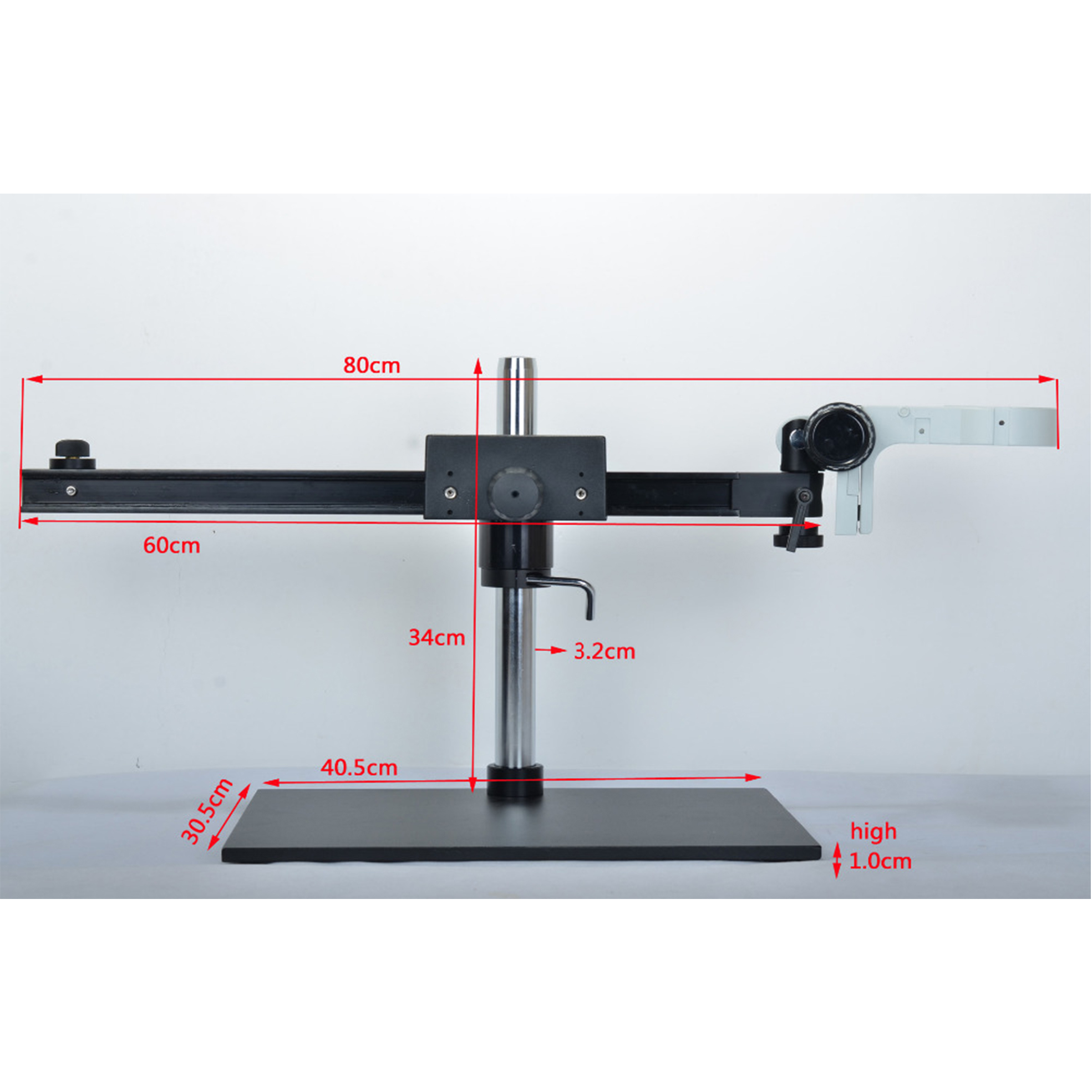 HAYEAR 76mm Ring Holder Big Size Zware Verstelbare Boom Grote Stereo Arm Tafel Stand Voor Lab Industrie Microscoop camera