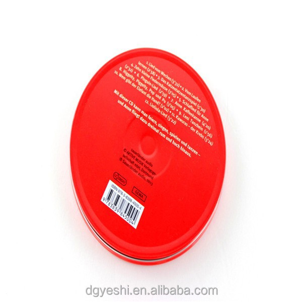 Round metal CD DVD case with printing outside metal tin can