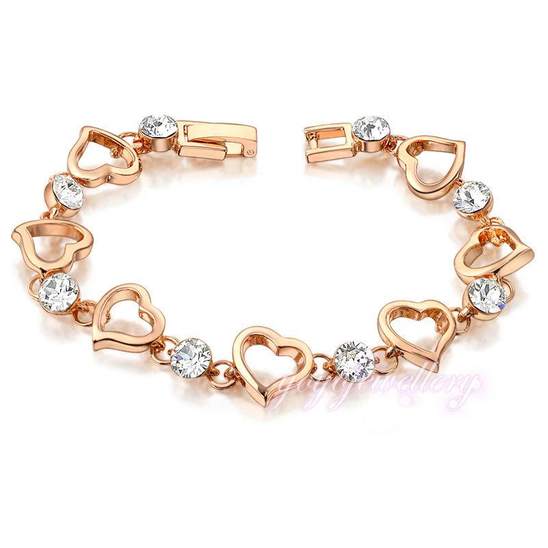 Novelties jewelry hearts link crystal gold bracelet design for ...