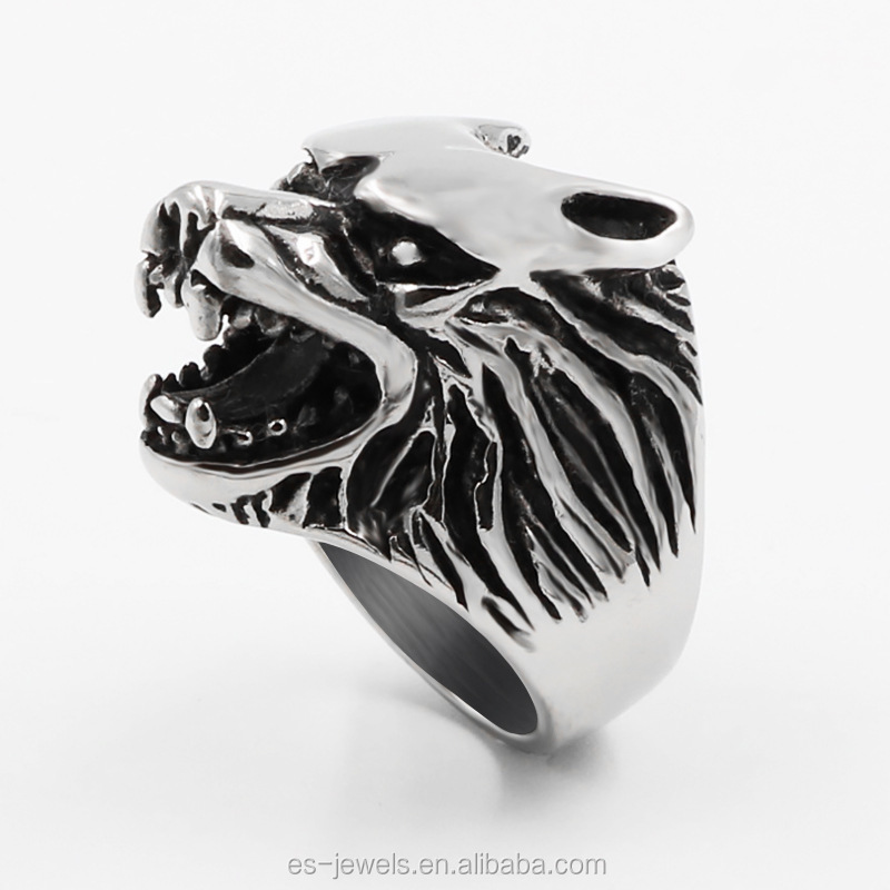 패션 Men's Wolf Head Gothic Biker 총 색 316L Stainless Steel 링