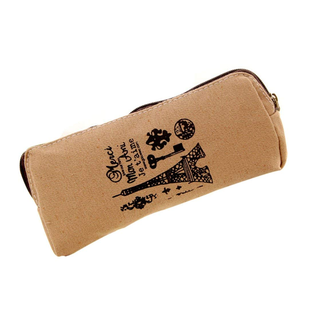 ASKCUT Pen Pencil Case,Retro Paris Style Cotton and Linen Canvas Large-capacity Multifunctional Storage Bag Creative Pure Color Stationery Bag (Light brown)