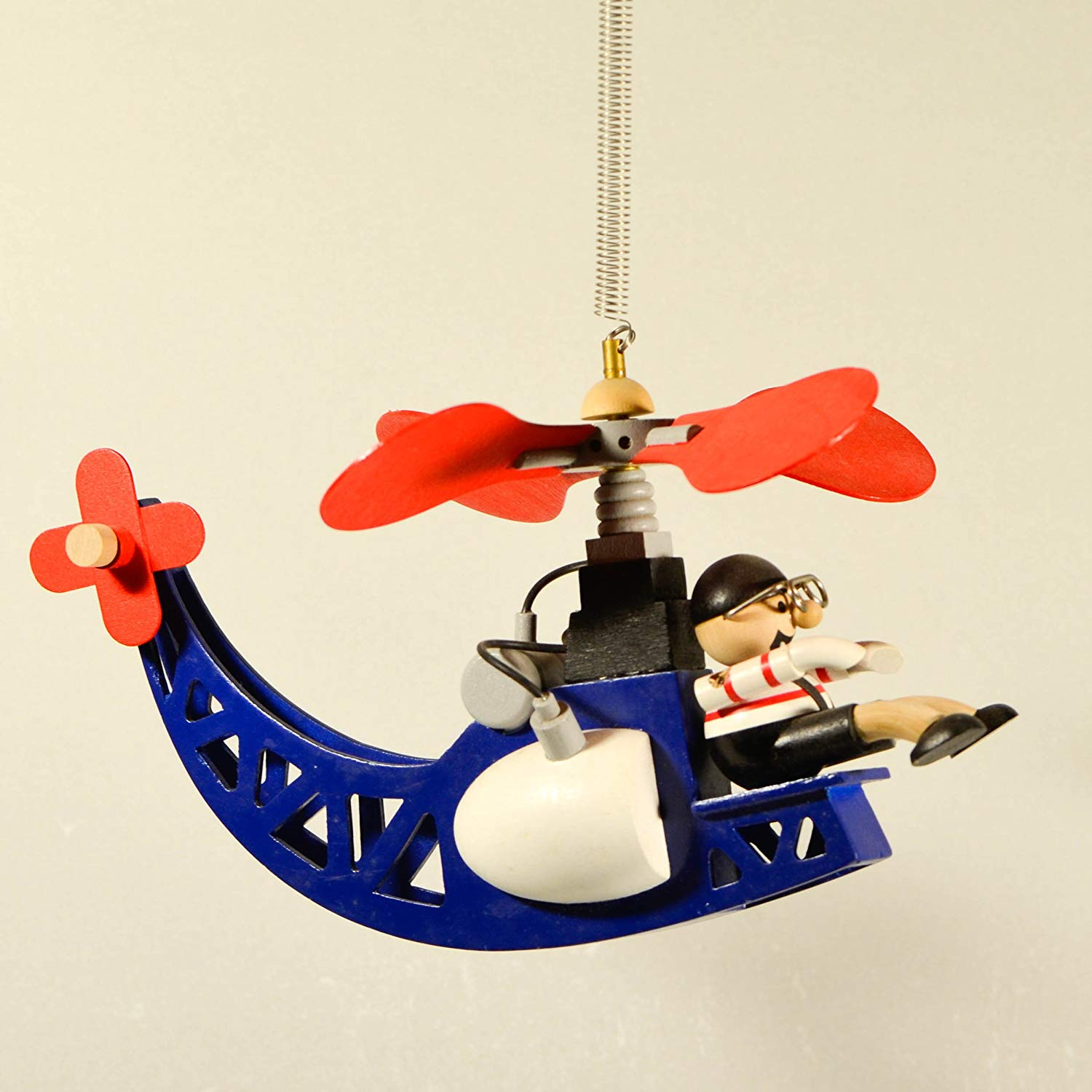 Wooden Hanging Mobile Helicopter with Pilot Man - Nursery Decor - Heli Hanging Ornament