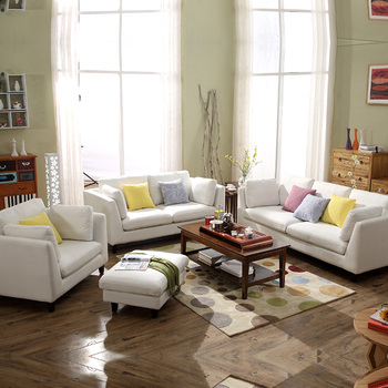 European Modern Latest Simple Style Light Color Washable Frabic Sectional Living  Room Wooden Sofa Set Designs