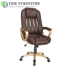 High back Genuine brown leather computer office chair parts