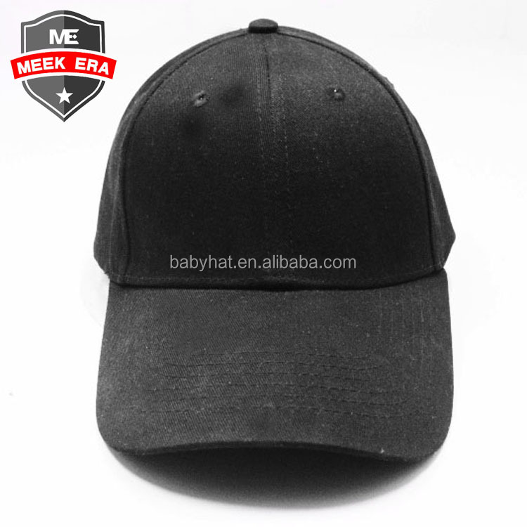 Custom new meek era blank 6 panel plain black baseball dad hat and cap