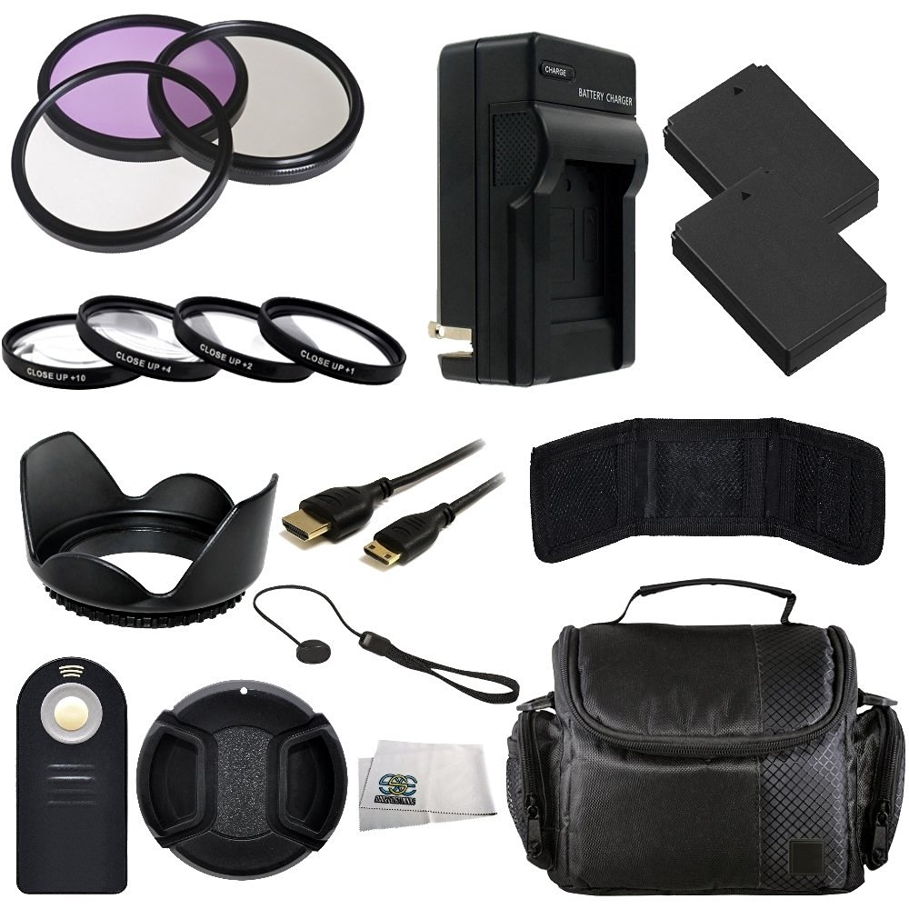 58MM Accessory Kit for Canon EOS Rebel SL1 18.0 MP CMOS Digital SLR with EF-S 18-55mm IS STM Lens Includes 3 Piece Filter Kit (UV-CPL-FLD) + 4 Piece Macro Filter Kit (+1,+2,+4,+10) + 2 Extended Life Replacement Batteries (LP-E12) + AC/DC Rapid Home & Travel Charger + Mini HDMI Cable + Carrying Case