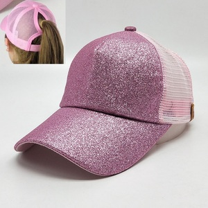 New Design Women Running Glitter High Bun Mesh Ponytail Shiny Baseball Cap