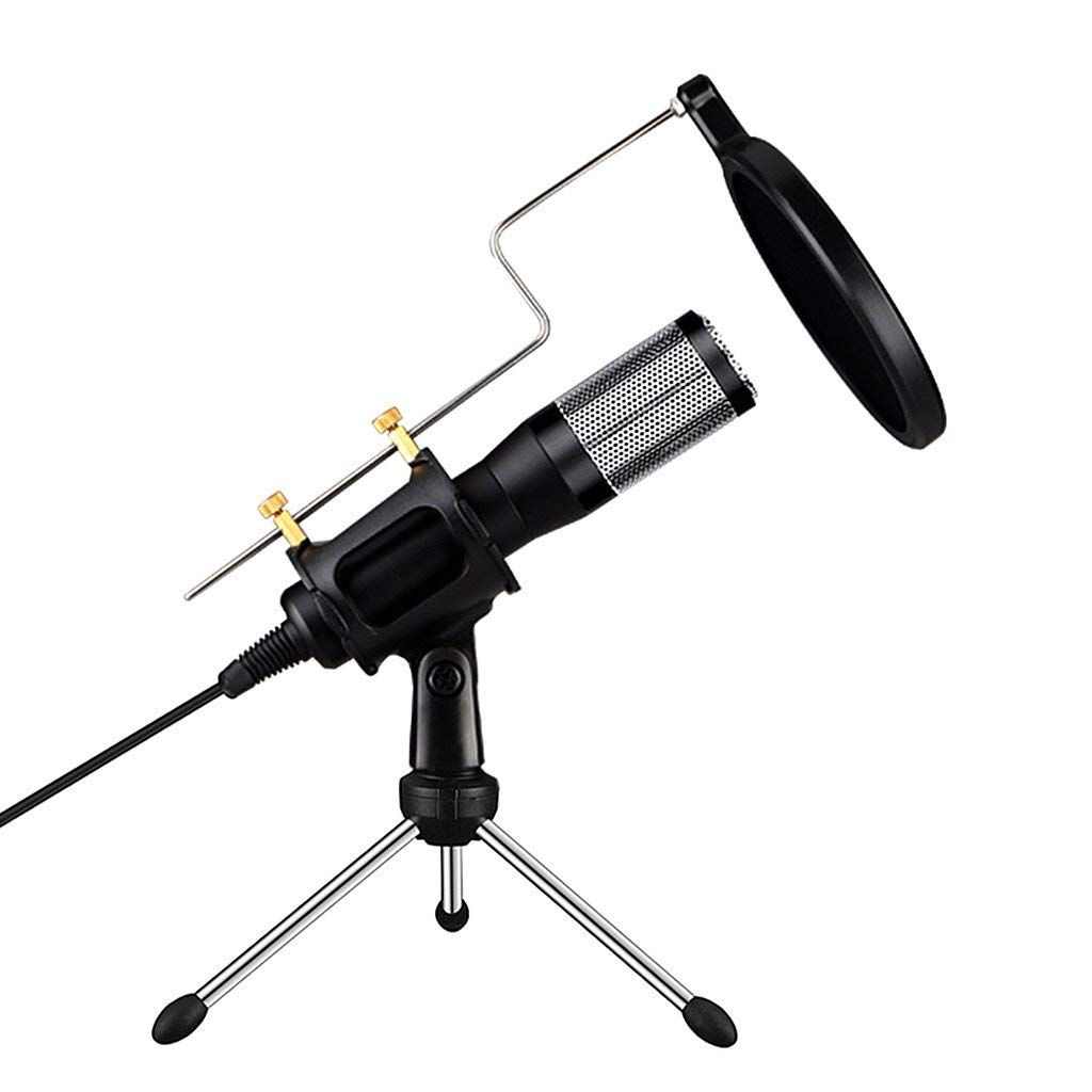 Baoblaze USB Plug&Play Condenser Microphone Mic with Pop Filter&Stand for Home Studio Radio Sound Recording