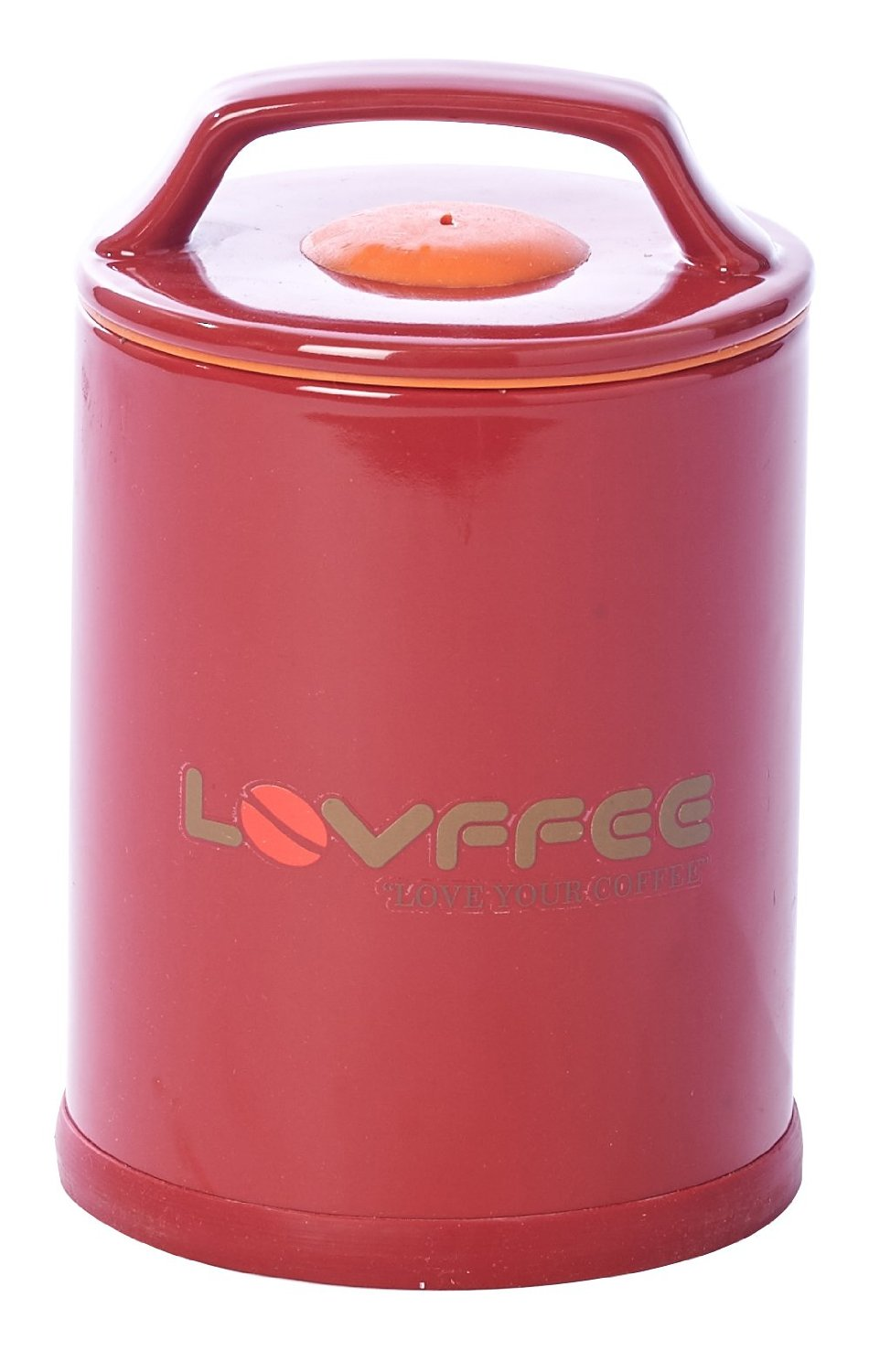 Lovffee Red Ceramic Premium Coffee Canister With Scoop Holds 1 Pound Whole
