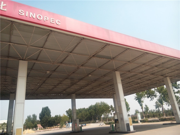 prefabricated space frame petrol station structure