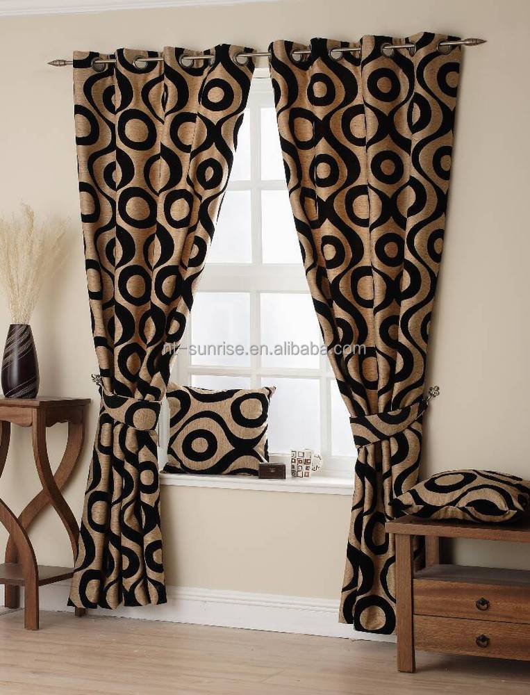 100%polyester flocked damask curtains floral blackout curtain
