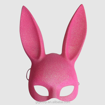 Halloween Party Pink Bunny Glitter Ear Rabbit Masquerade Party Mask