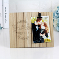 Nature Color Laser Cutting Logo Print Carved Wooden Photo Frame with One Steel Clamp