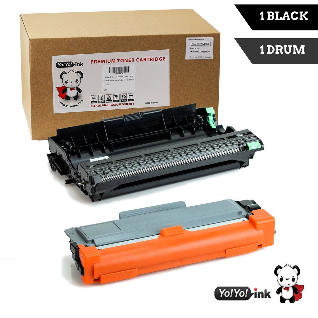 YoYoInk Compatible Toner Cartridge Replacement for Brother TN 660 TN660 TN-660 Toner & DR 630 DR630 DR-630 Drum High Yield 2 Pack (1 Black Toner +1 Drum)