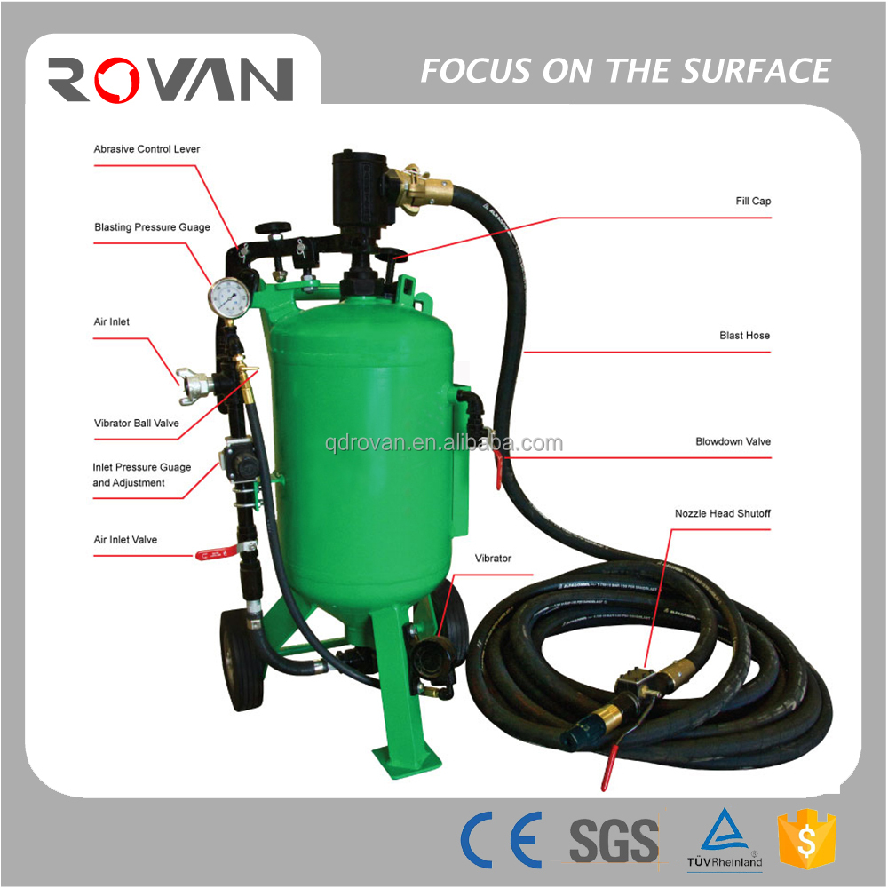 small movable1 cubic foot capacity sand blasting pot, lowest price DB150 sand blaster