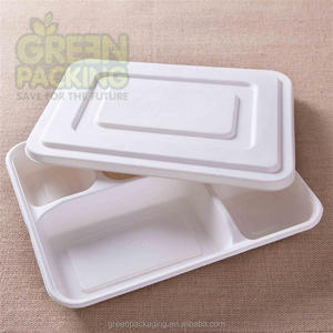 Disposable 100% biodegradable 5 compartment sugarcane pulp lunch tray for food