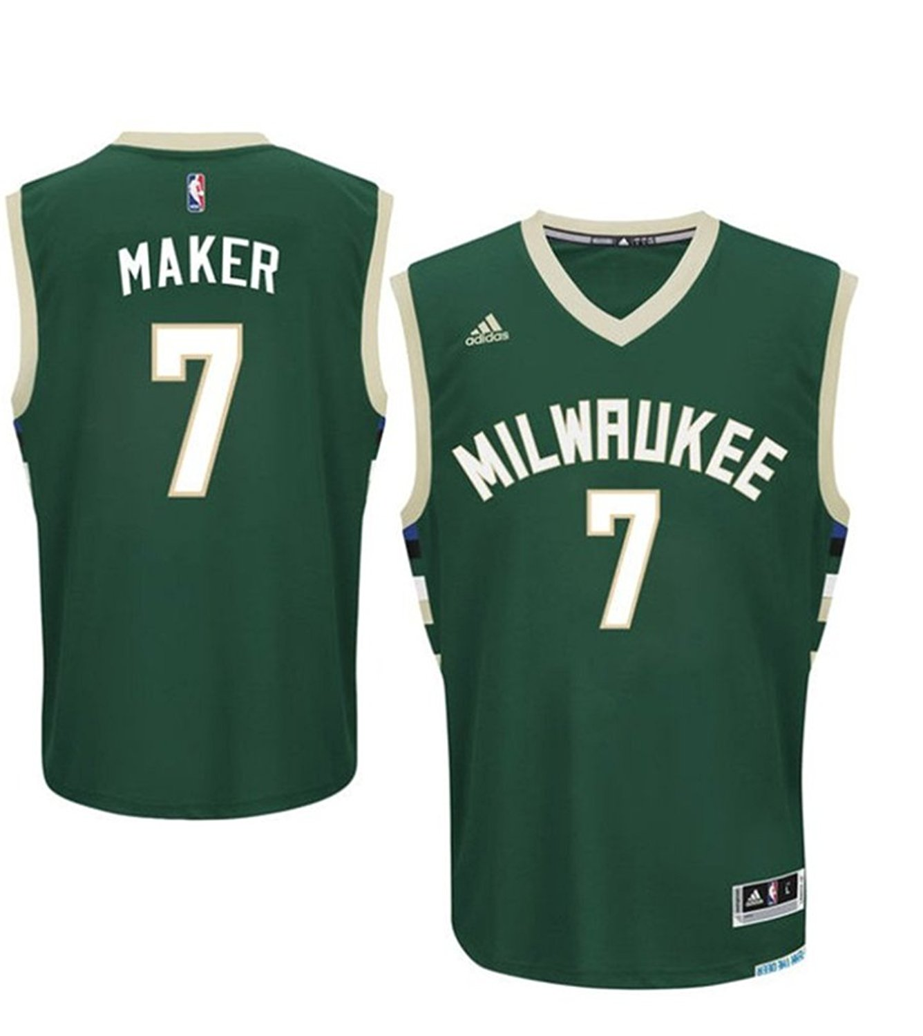 f2e1291ab ... get get quotations mens milwaukee bucks 7 thon maker basketball jersey  green 69911 c2007