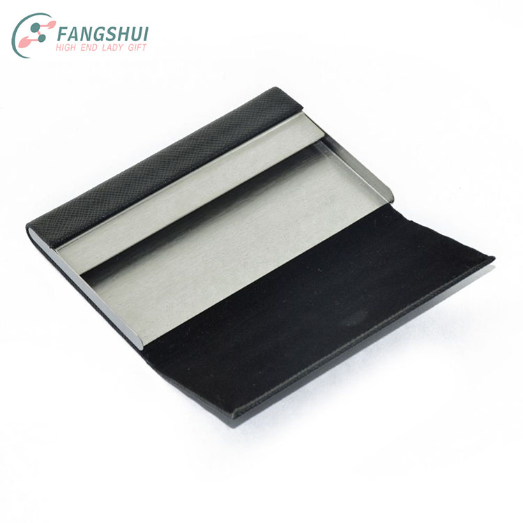 Hottest personalized bulk men black color stainless steel metal pu leather name business card holders