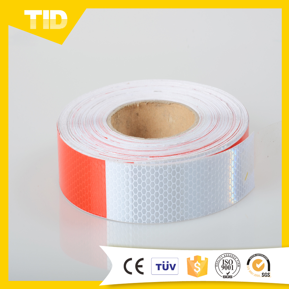Micro Prismatic PVC Red/White Reflective Tape For Safety Warning