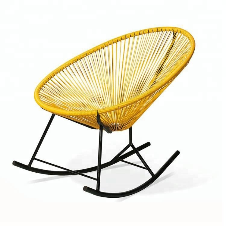 Wholesale fashion outdoor rattan iron rocking chair easy chair