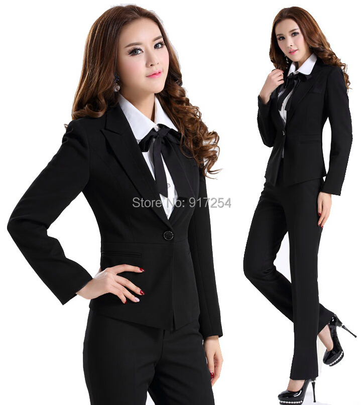 37585c79782eb 2015 New Fall Winter Professional Women's Career Pants Suits Elegant  Business Work Wear Suits Beautician Sets Plus Size Black