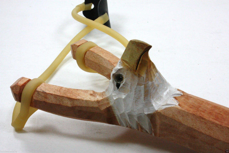EAGLE WOODEN HAND CARVED SLINGSHOT SLING SHOT HIGH POWER RUBBER BAND
