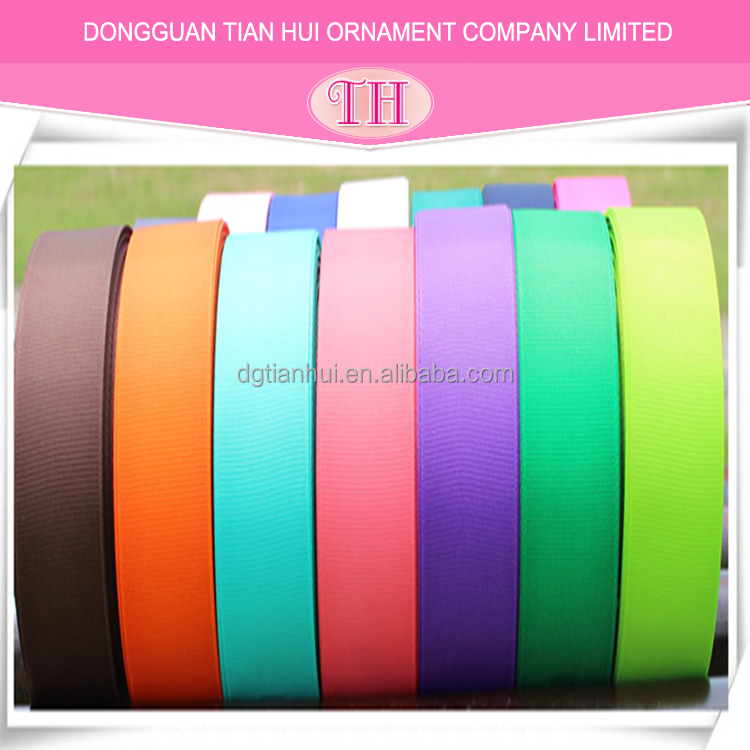 2017 High quality solid color 100% polyester 25mm 1 inch grosgrain ribbon for gift